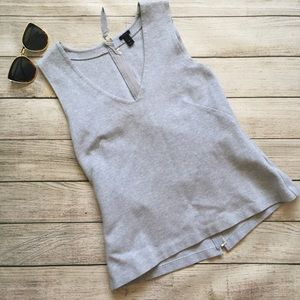 J. Crew Gray Structured V-Neck Crew